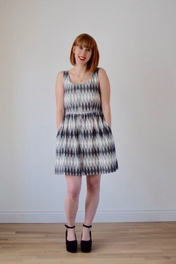 A Grey Ikat Grace Dress for Sewing Made Simple Magazine