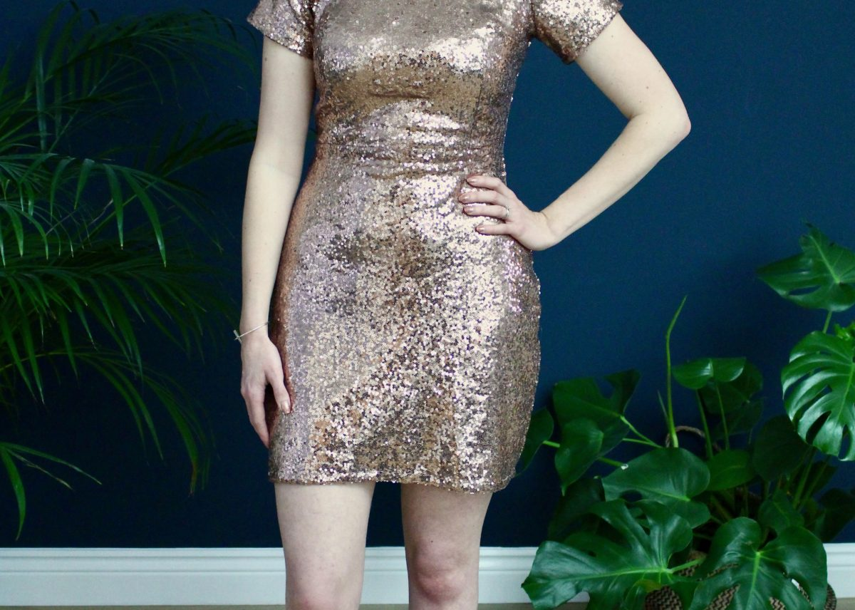 A Rose Gold Sequinned Papercut Sigma Dress