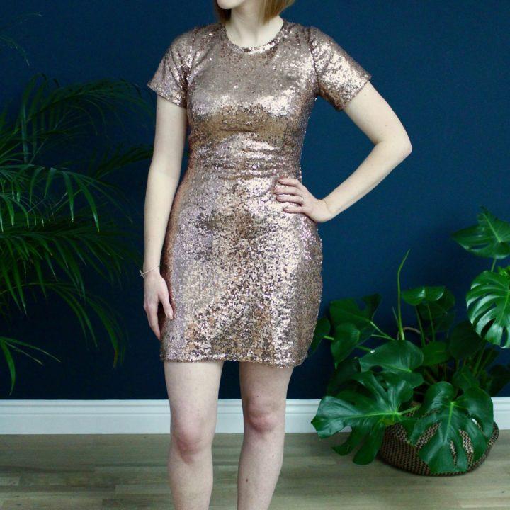 A Rose Gold Sequinned Papercut Sigma Dress
