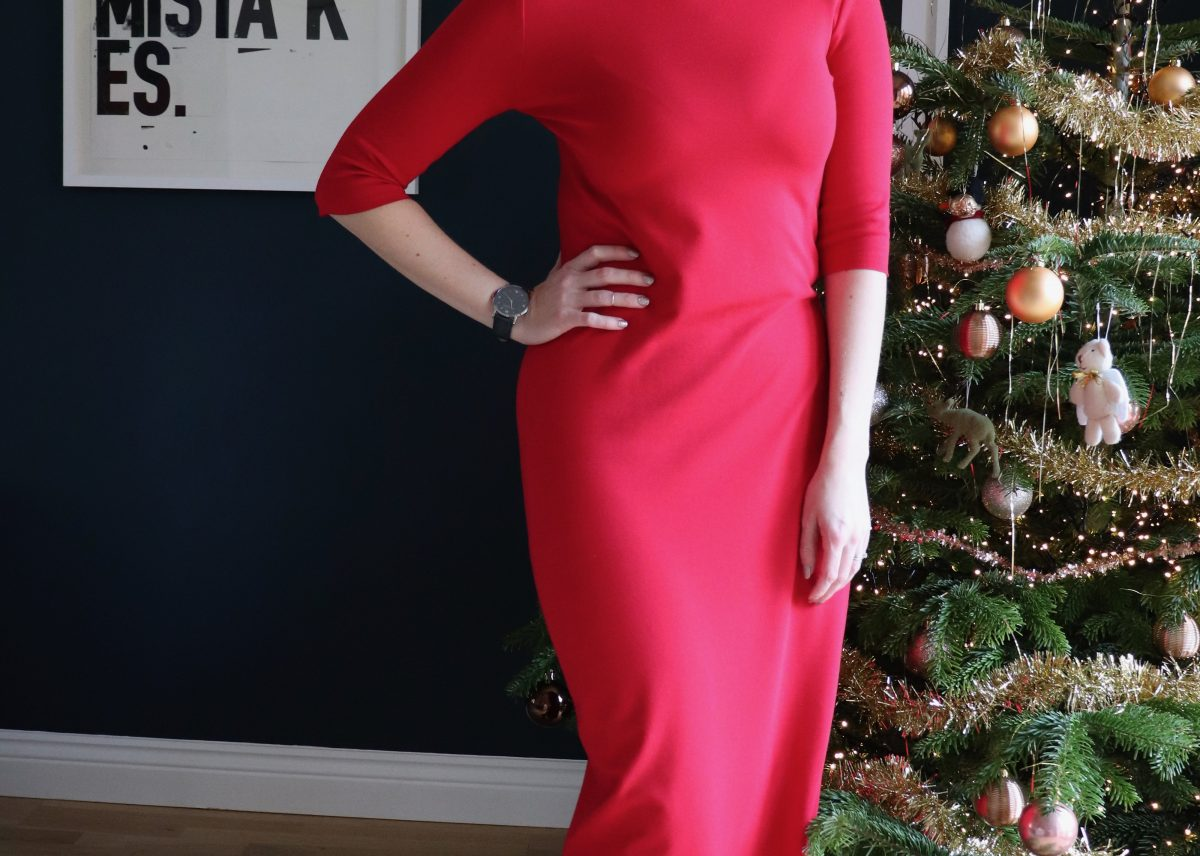 A Festive Red True Bias Nikko Dress