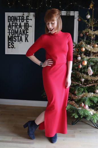 A Festive Red True Bias Nikko Dress