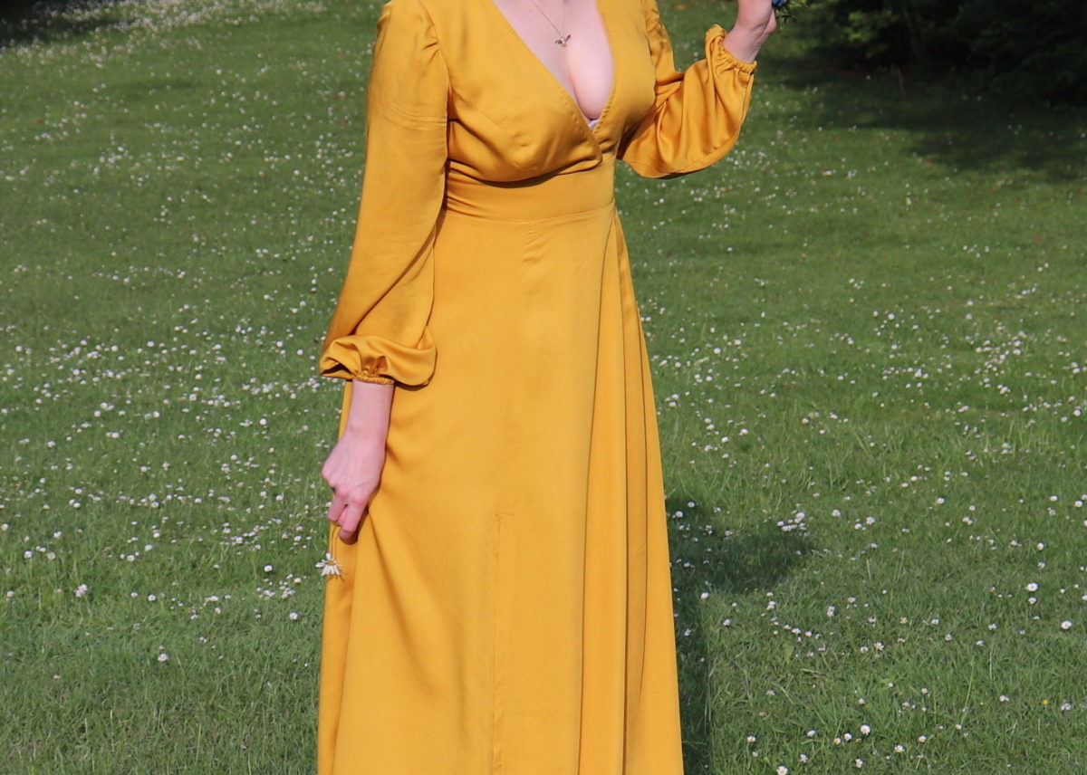 A Silky Yellow Magnolia Maxi Dress